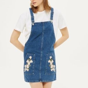 Topshop Embroidered Overall Dress